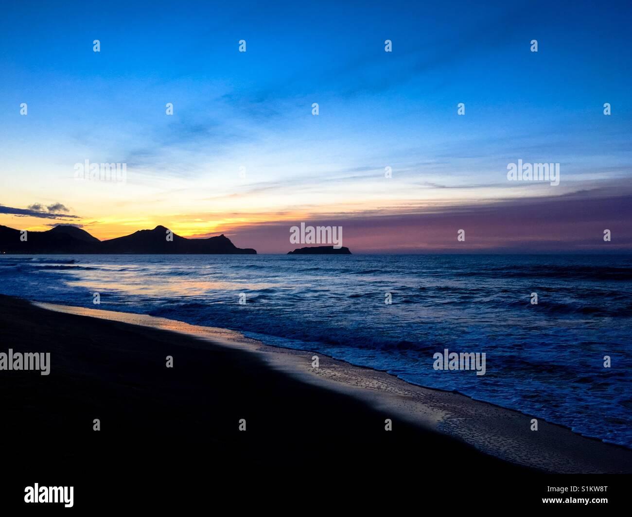 Sunrise over the mountains of Porto Santo, Madeira, Portugal - Stock Image