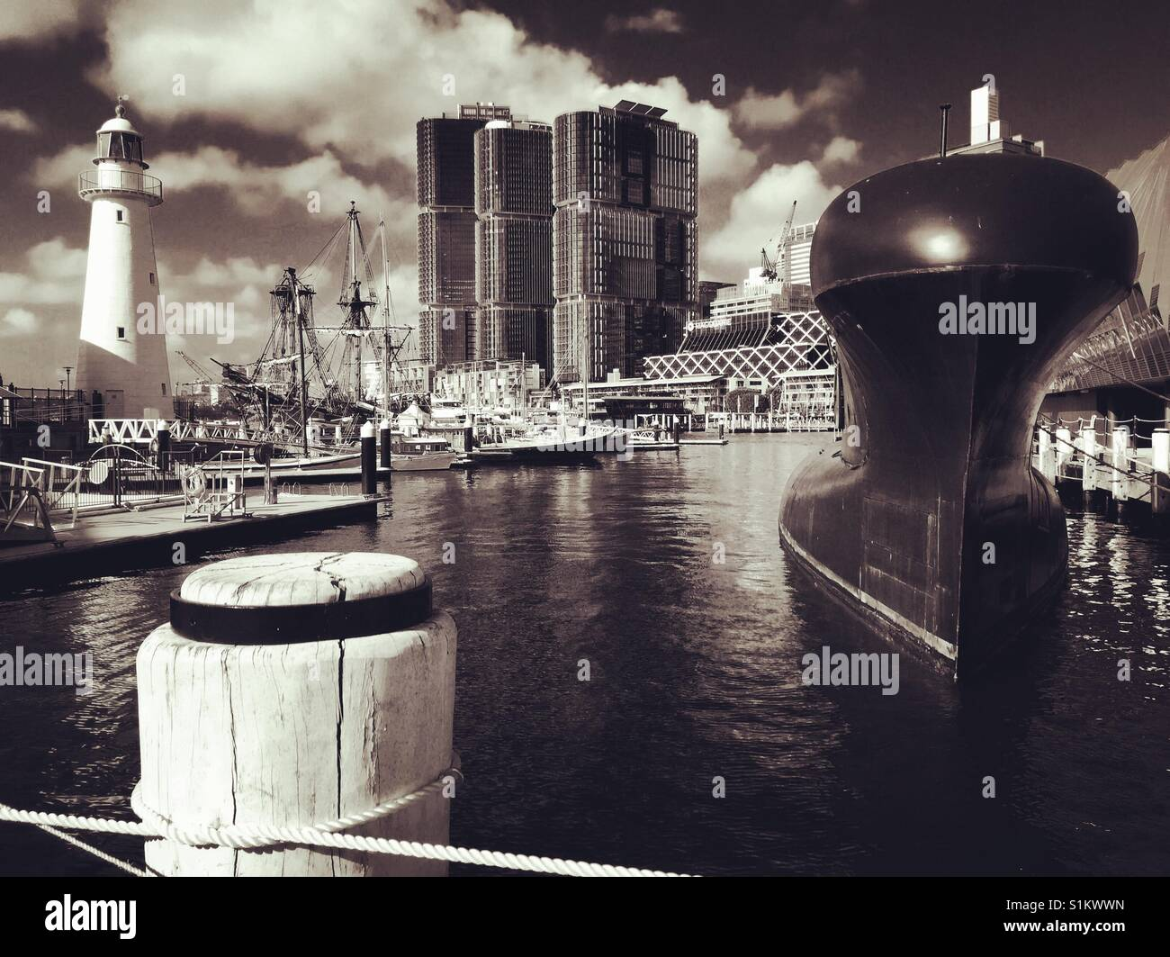 Sydney Darling Harbour black and white - Stock Image