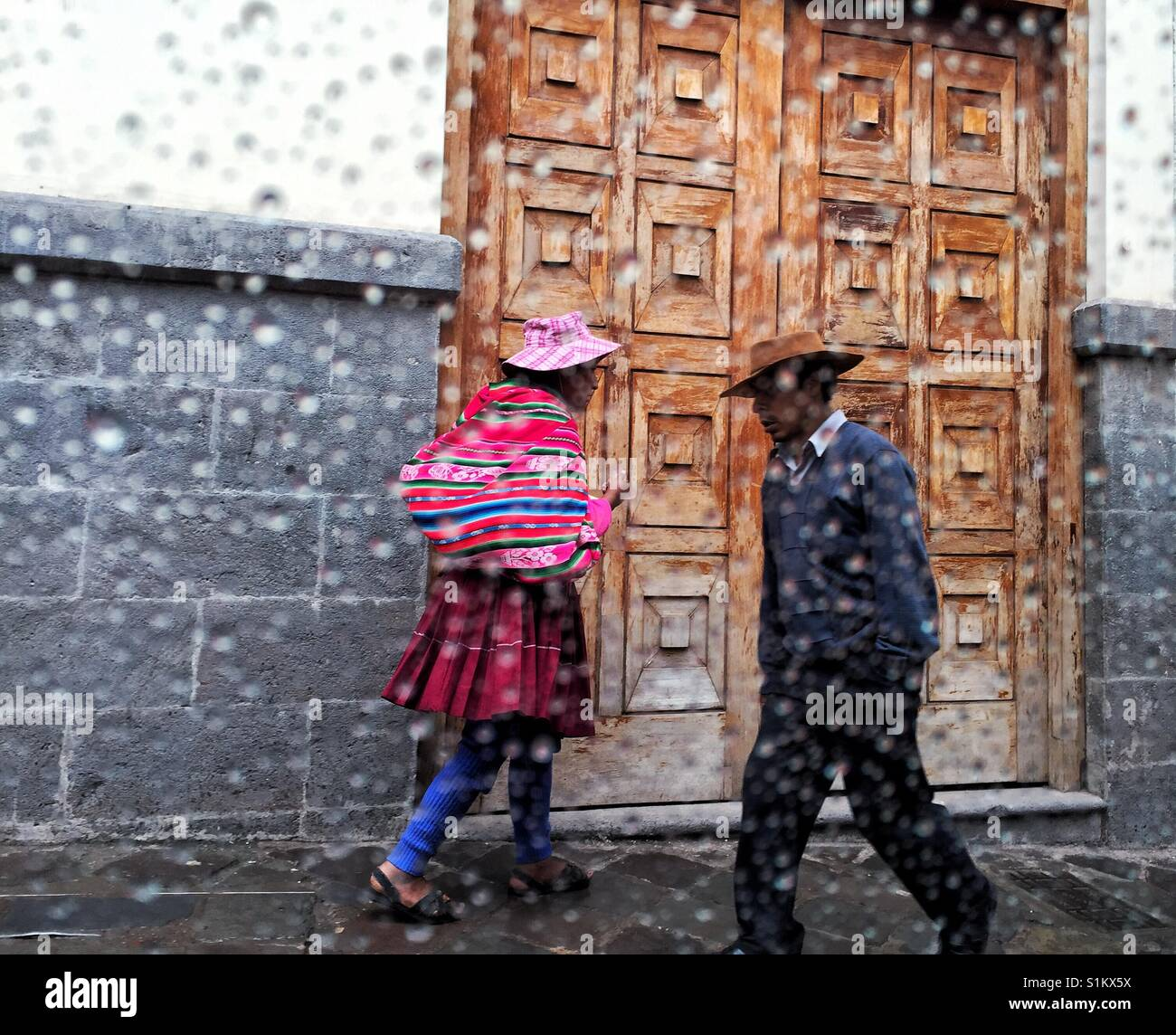 Rainy day on the streets of Cusco in Peru - Stock Image