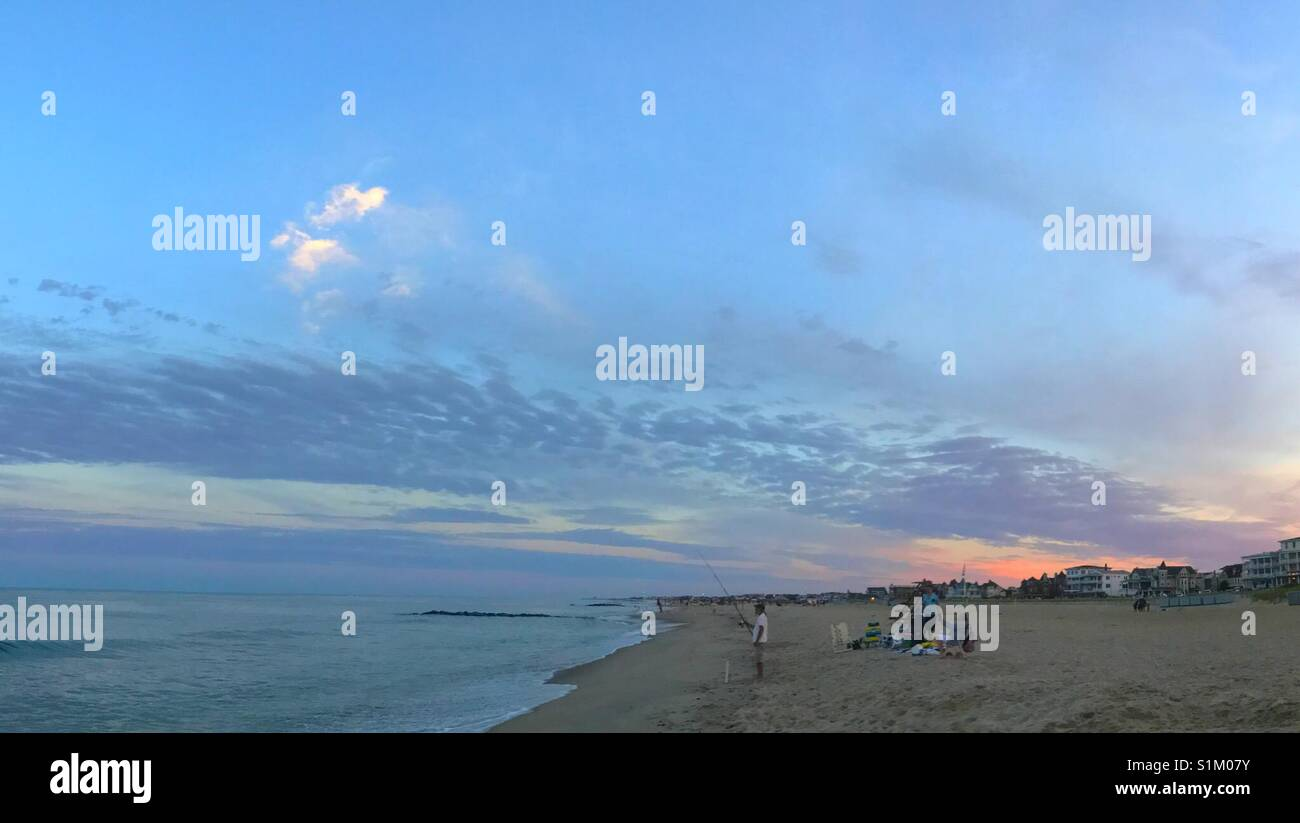 Amazing sunset sky at ocean grove beach New Jersey Stock