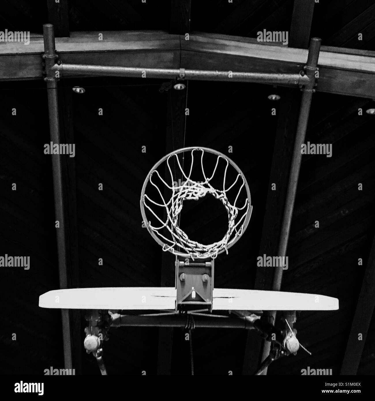 Basketball hoop from below - Stock Image