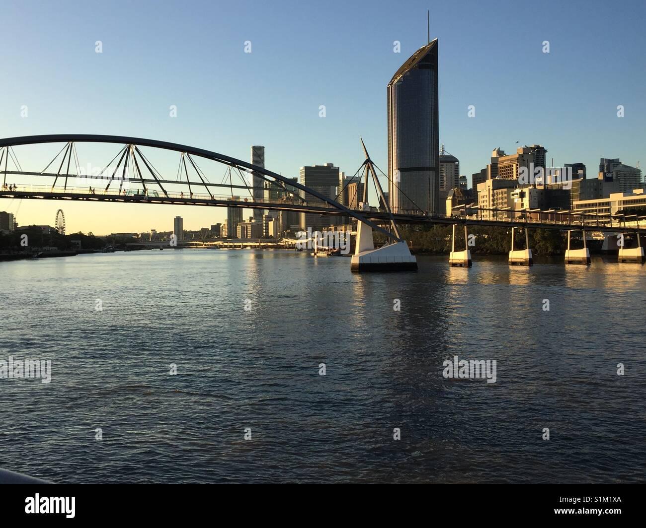Brisbane City, Goodwill Bridge, Brisbane River, - Stock Image
