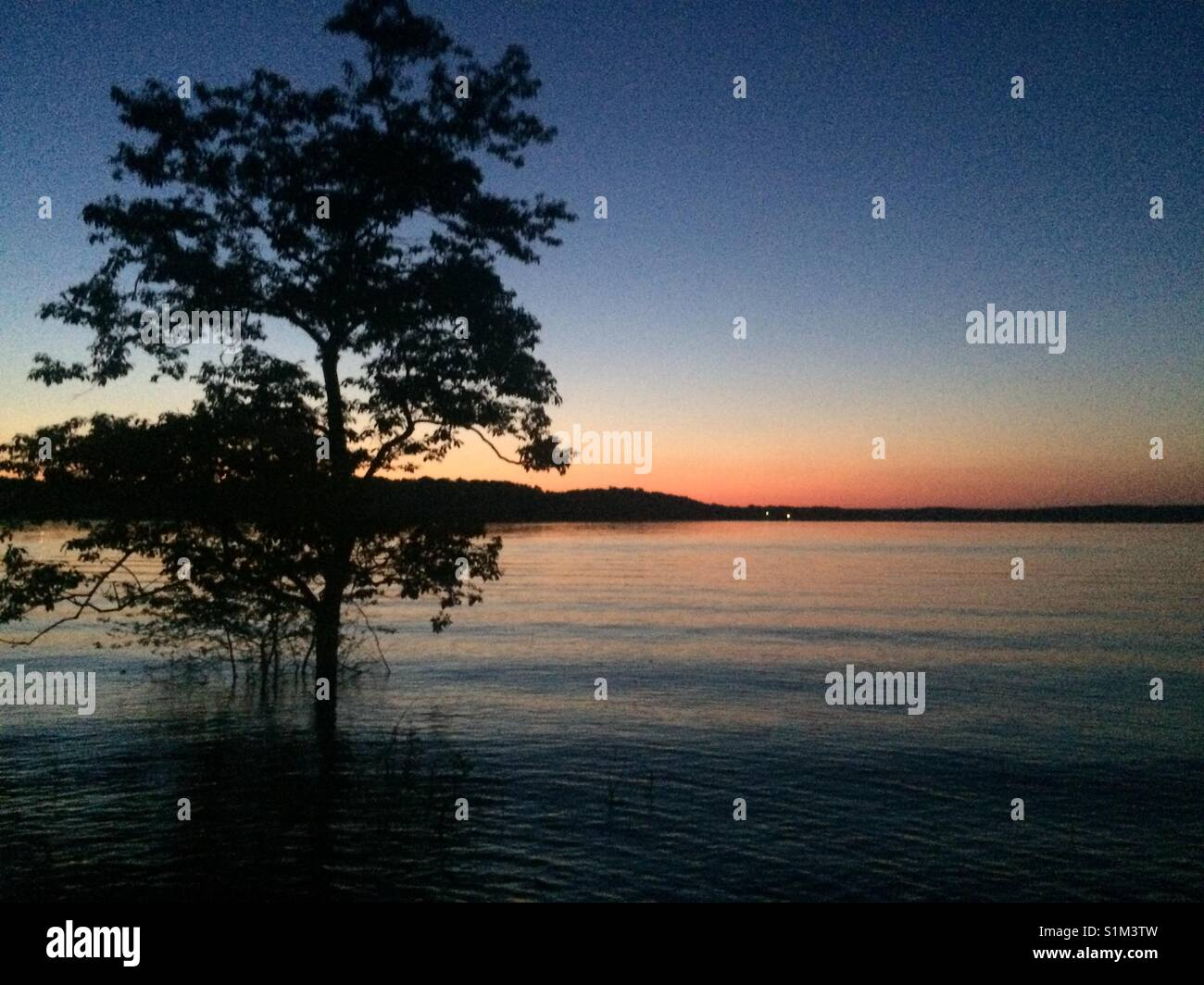 A nice peaceful photo of a flooded lake, with a nice tree and a beautiful sunset. Just looking at this picture can - Stock Image