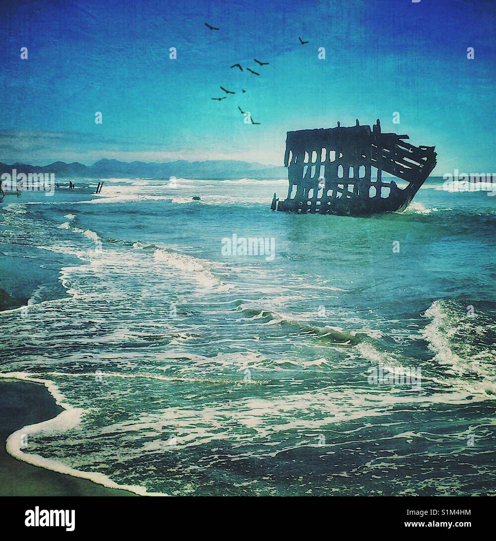 Shipwreck on the Oregon Coast - Stock Image