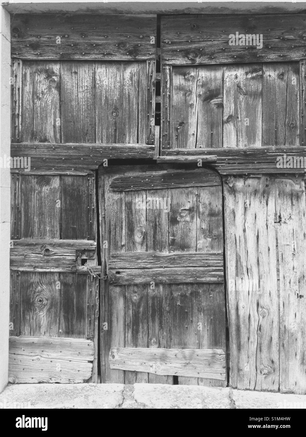 Old Rustic Farm House Barn Door Made From Faded Old Wood Timber