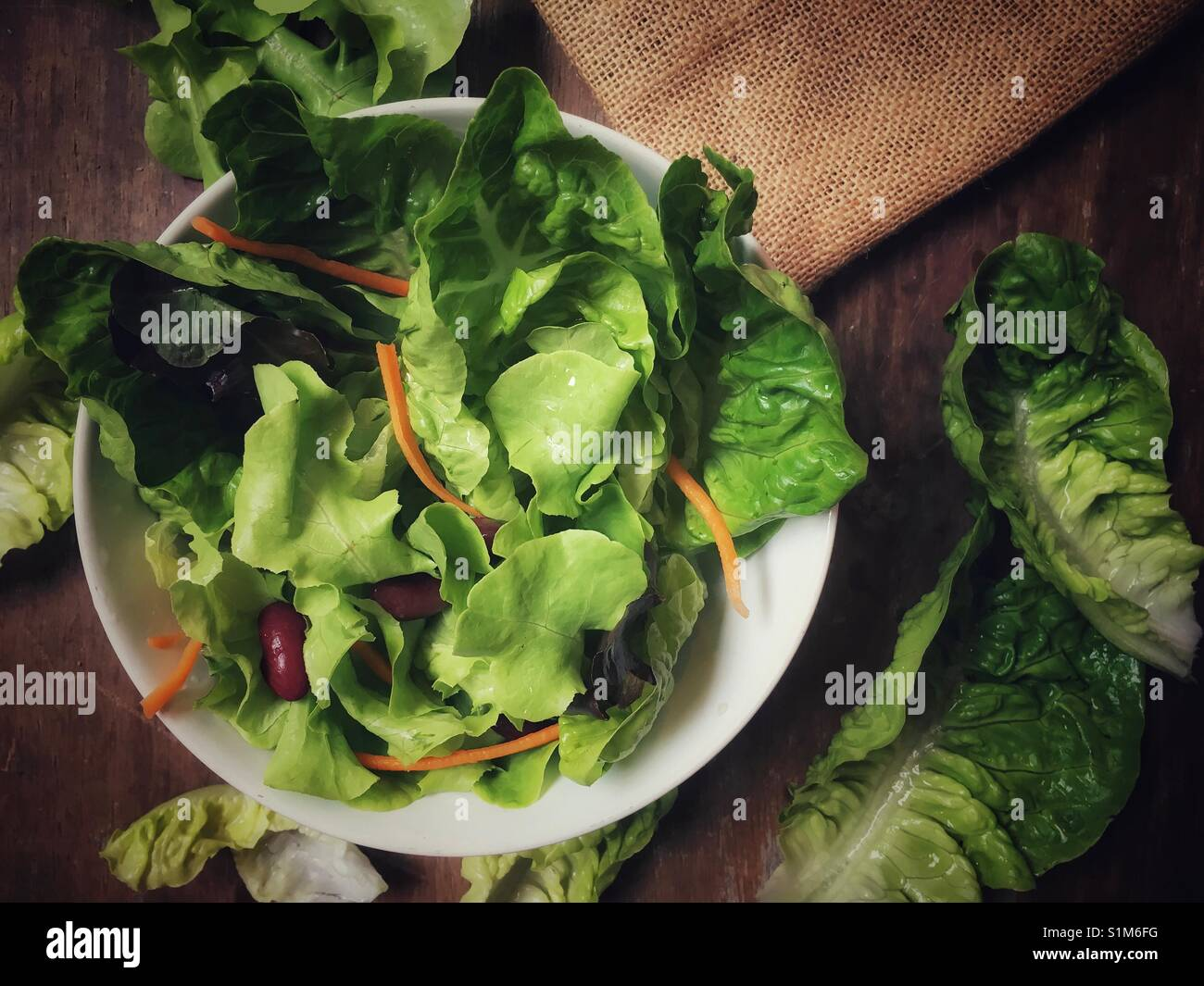 Health benefits of eating a bowl of green salad daily - Stock Image