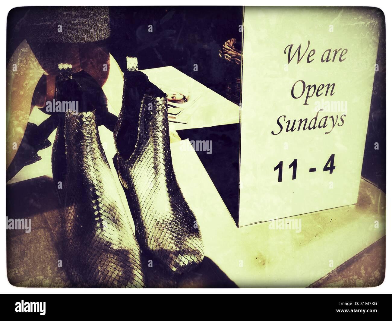 We are open Sundays - Stock Image