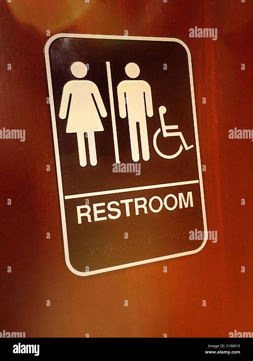 Wheelchair Accessible Ada Stock Photos Wheelchair Accessible Ada - Unisex handicap bathroom sign