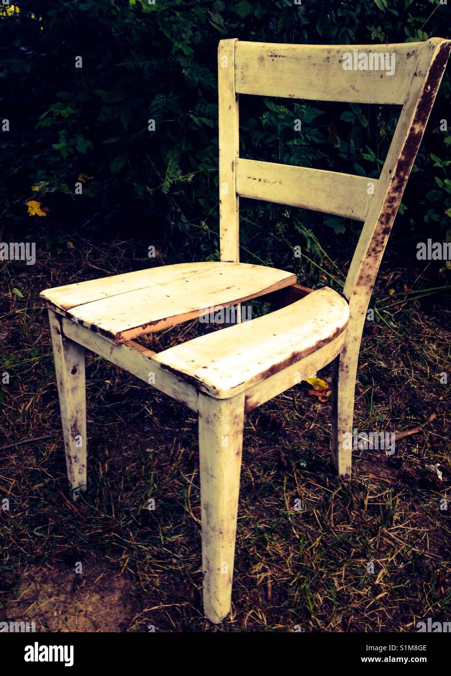 Old Wooden Ladder Back Chair Found In Abandoned Basement With A Piece  Missing