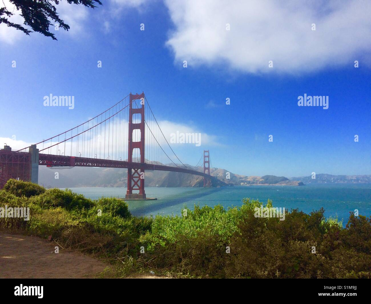 Golden Gate Bridge at midday. Taken from the south side. - Stock Image