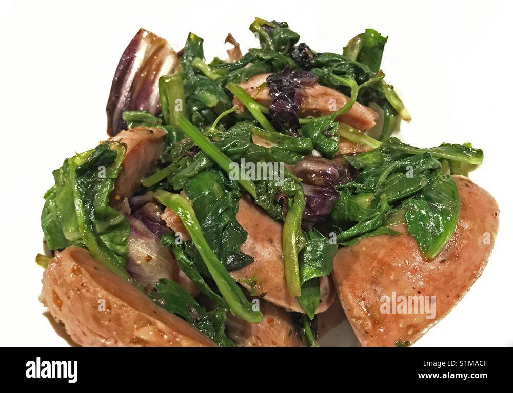 Low Carb Low Calorie - Chicken Sausage with Greens - Stock Image