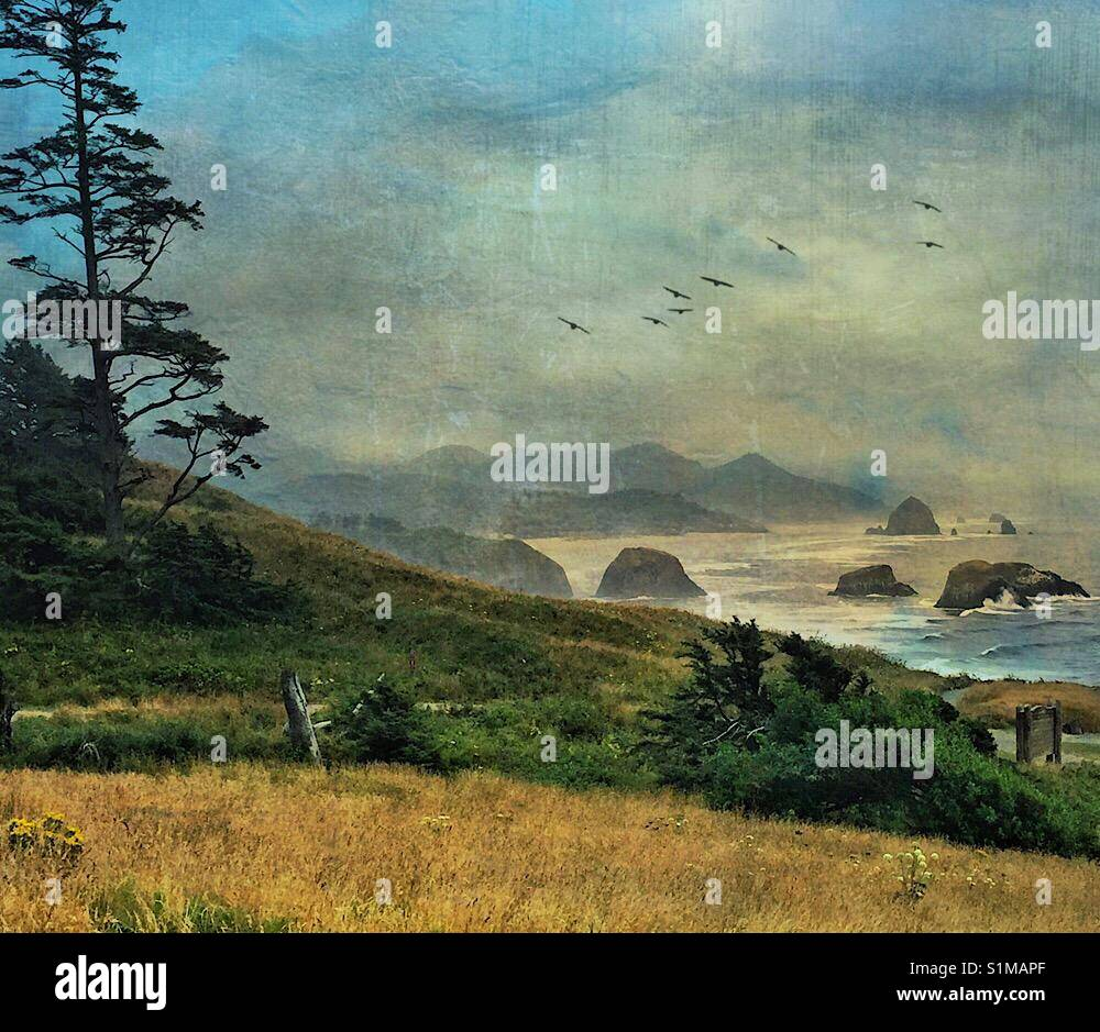 Cannon Beach Oregon - Stock Image