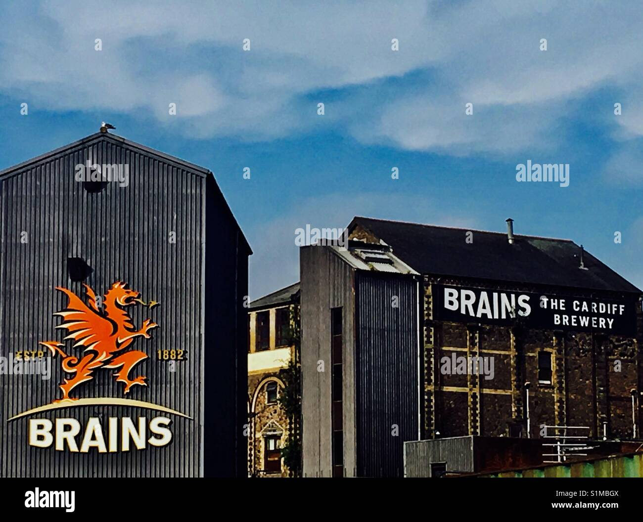 Brains- The Cardiff brewery. - Stock Image