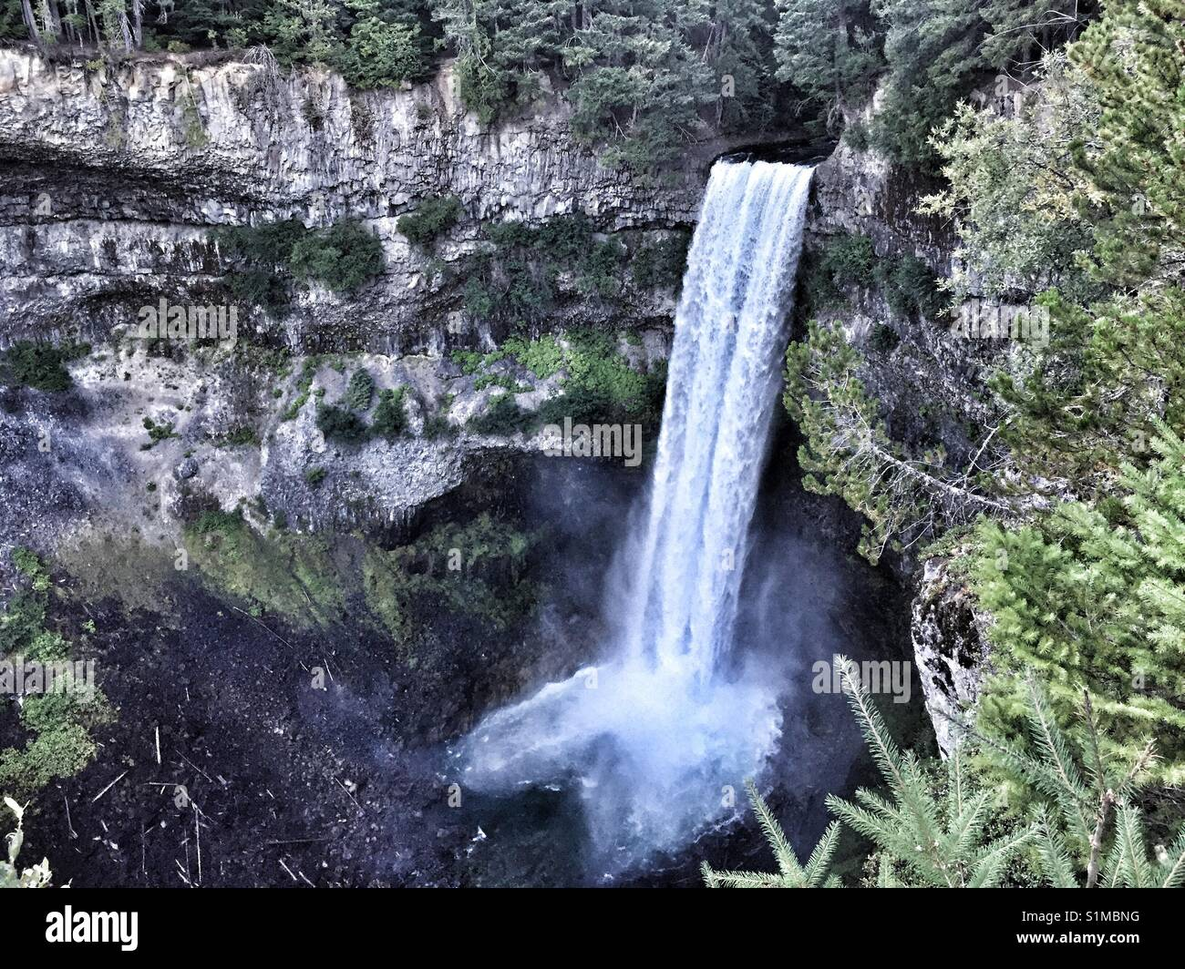 Brandywine Falls Park between Squamish and Whistler in British Columbia in Canada. Waterfall and canyon. - Stock Image