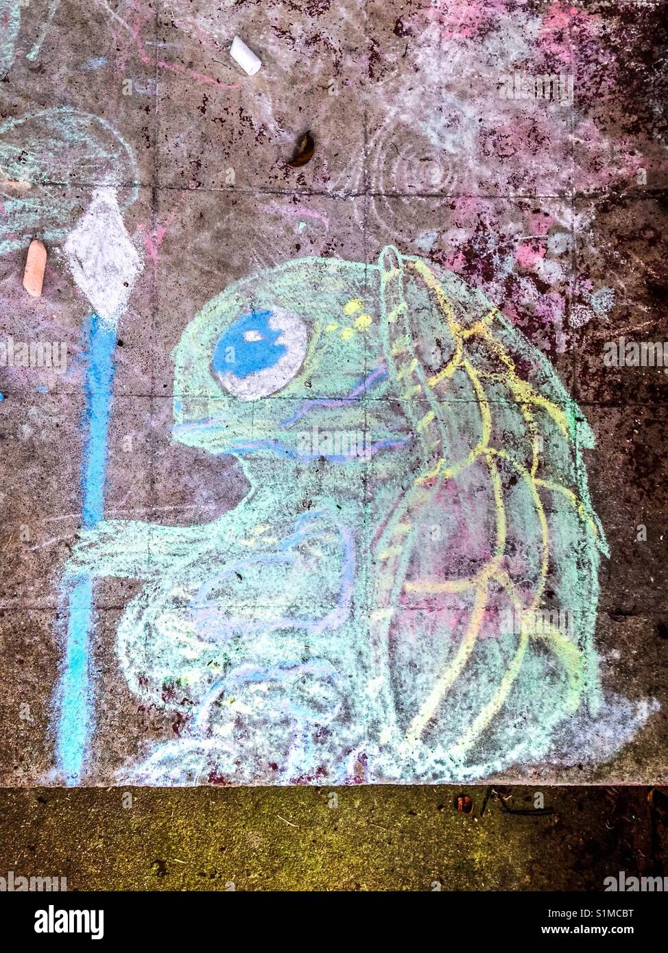 Chalk drawing of turtle king, maybe - Stock Image