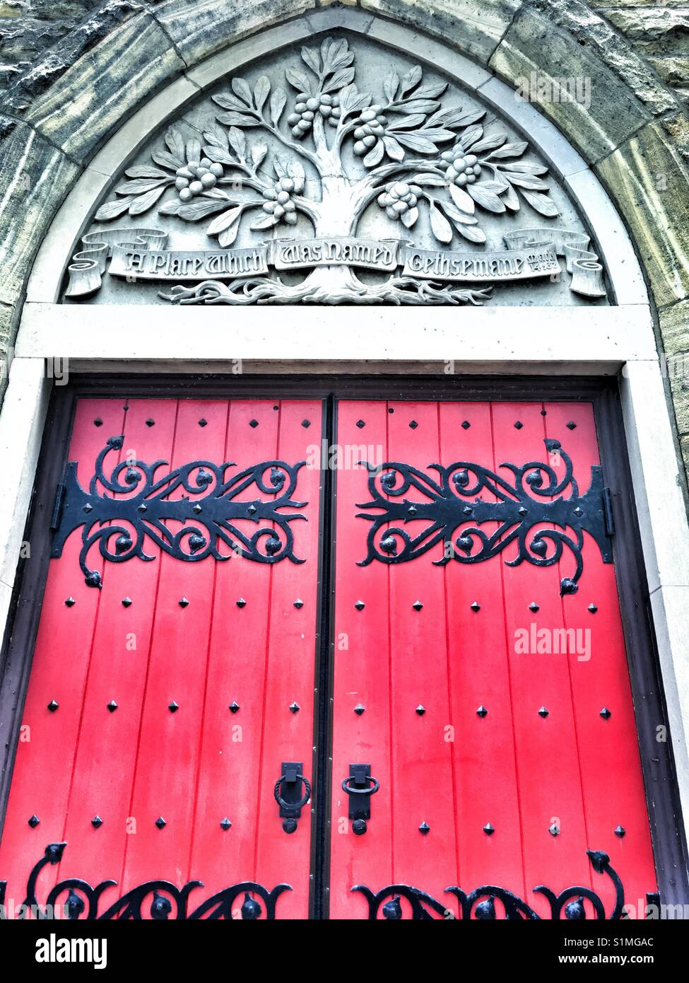 Old door with wrought iron decor - Stock Image