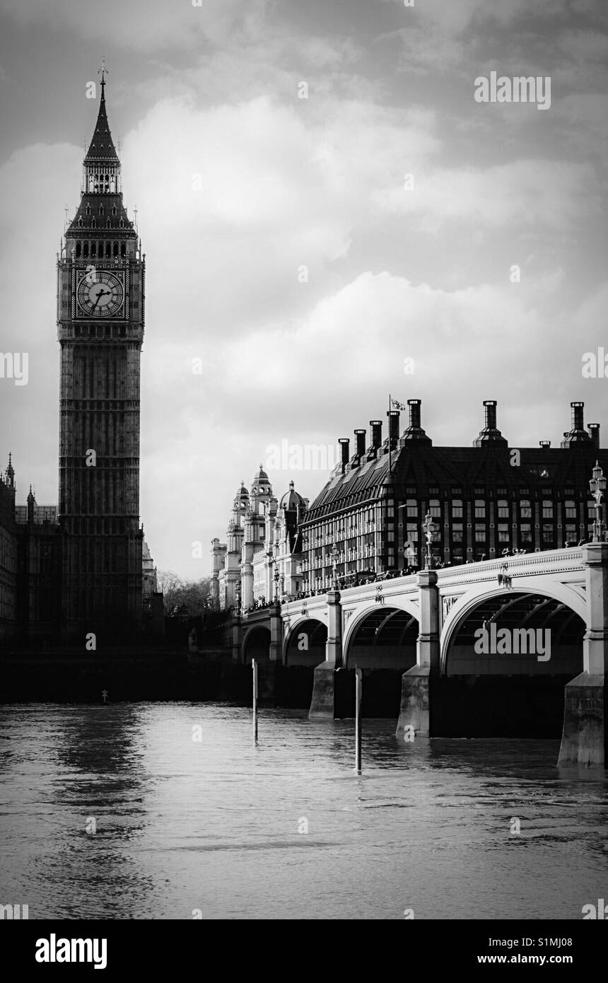 Big Ben and Westminster Bridge by the Thames - Stock Image