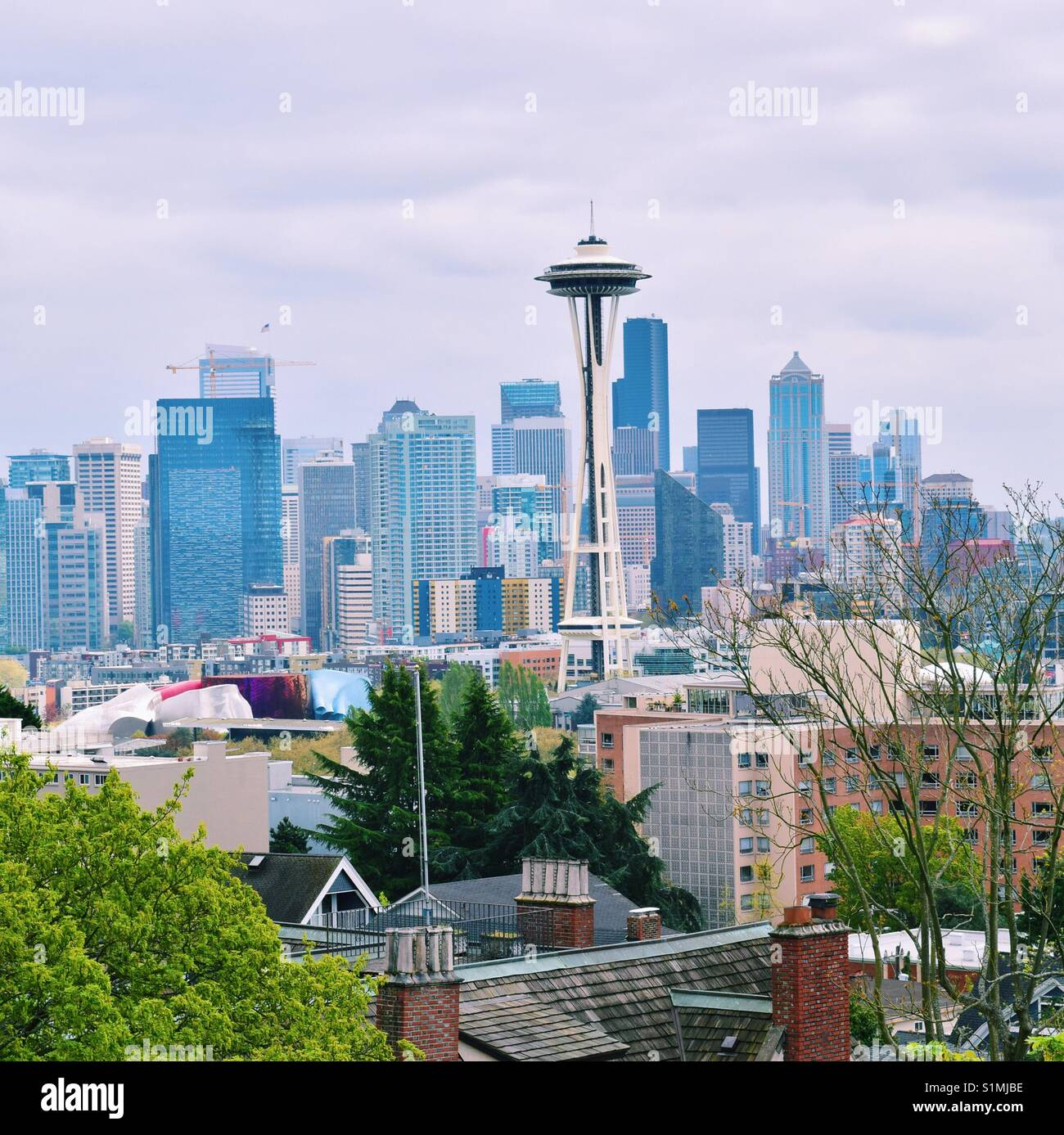 Space needle from Kerry Park - Stock Image