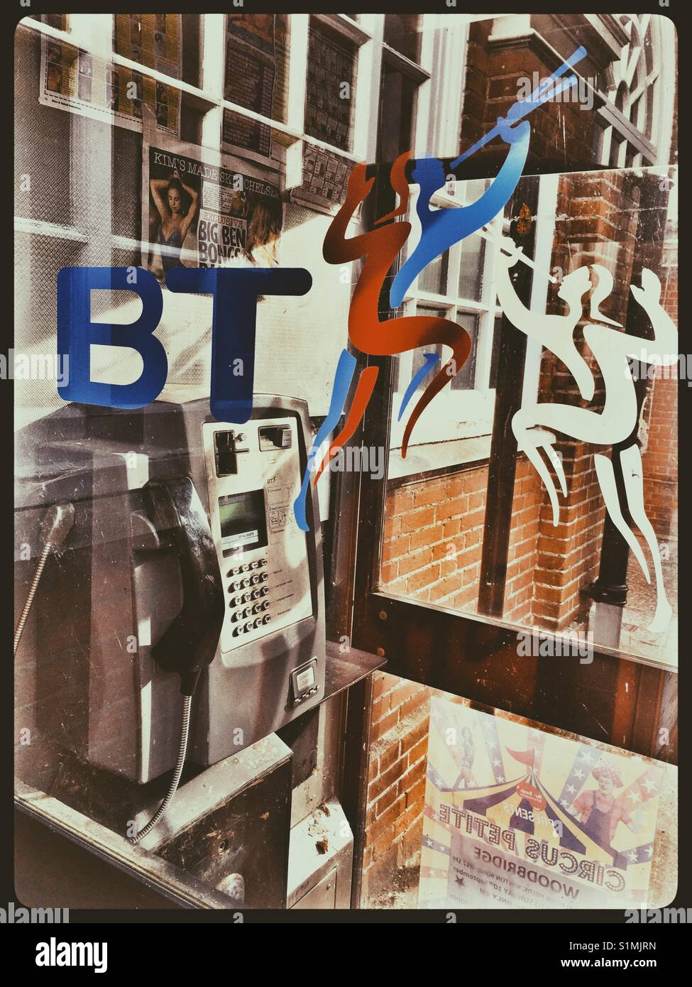 1990's BT Telephone Kiosk with The Herald Logo in both Colourand Black and White variants. - Stock Image