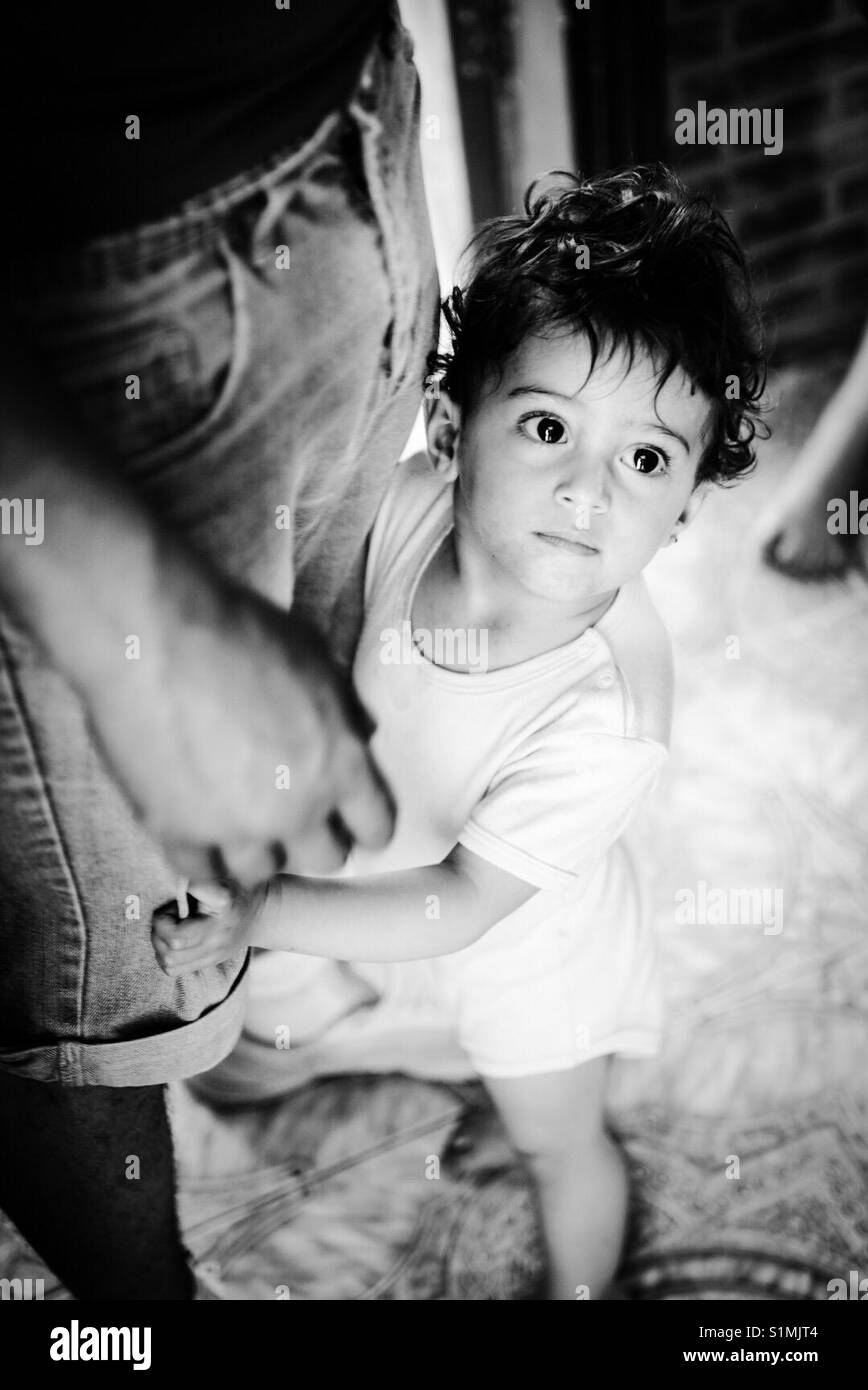 A refugee child in Aida Camp in Bethlehem, Palestine. - Stock Image