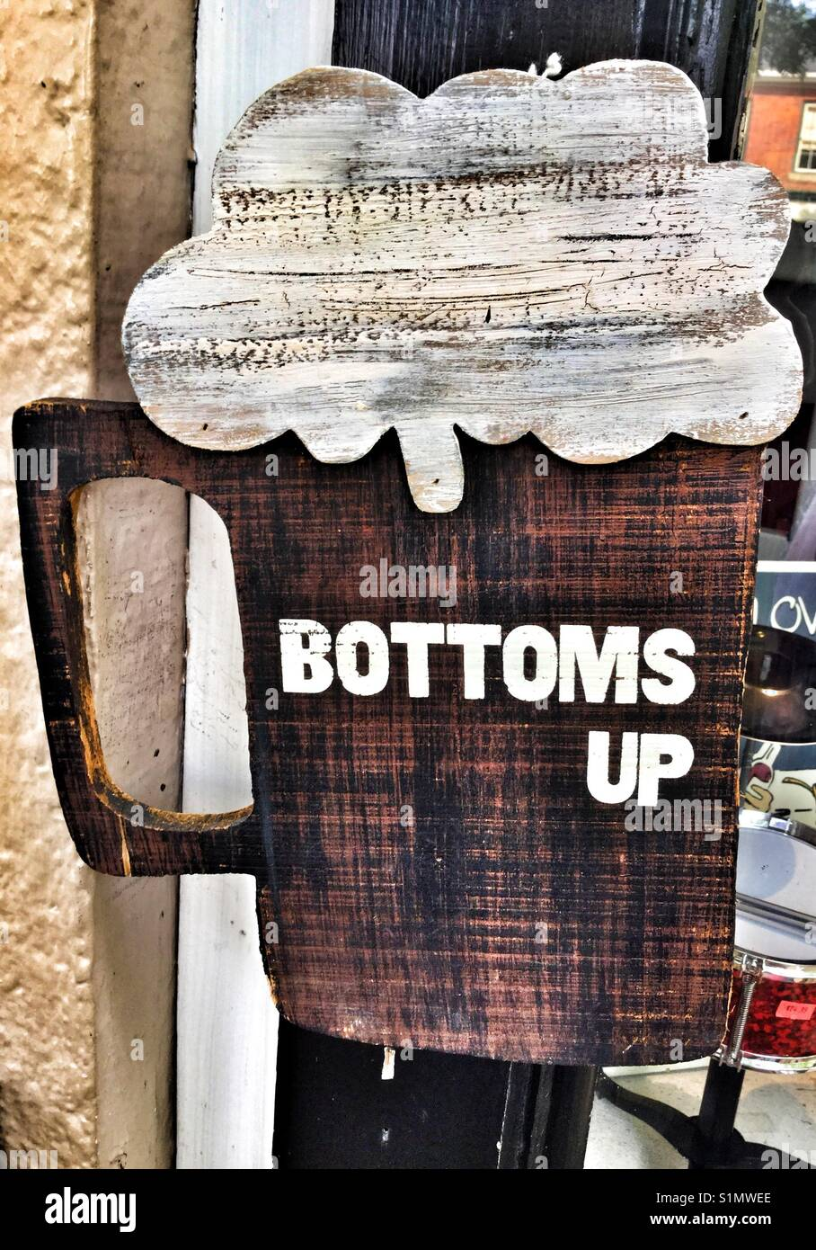 Bottoms up beer sign. Stock Photo