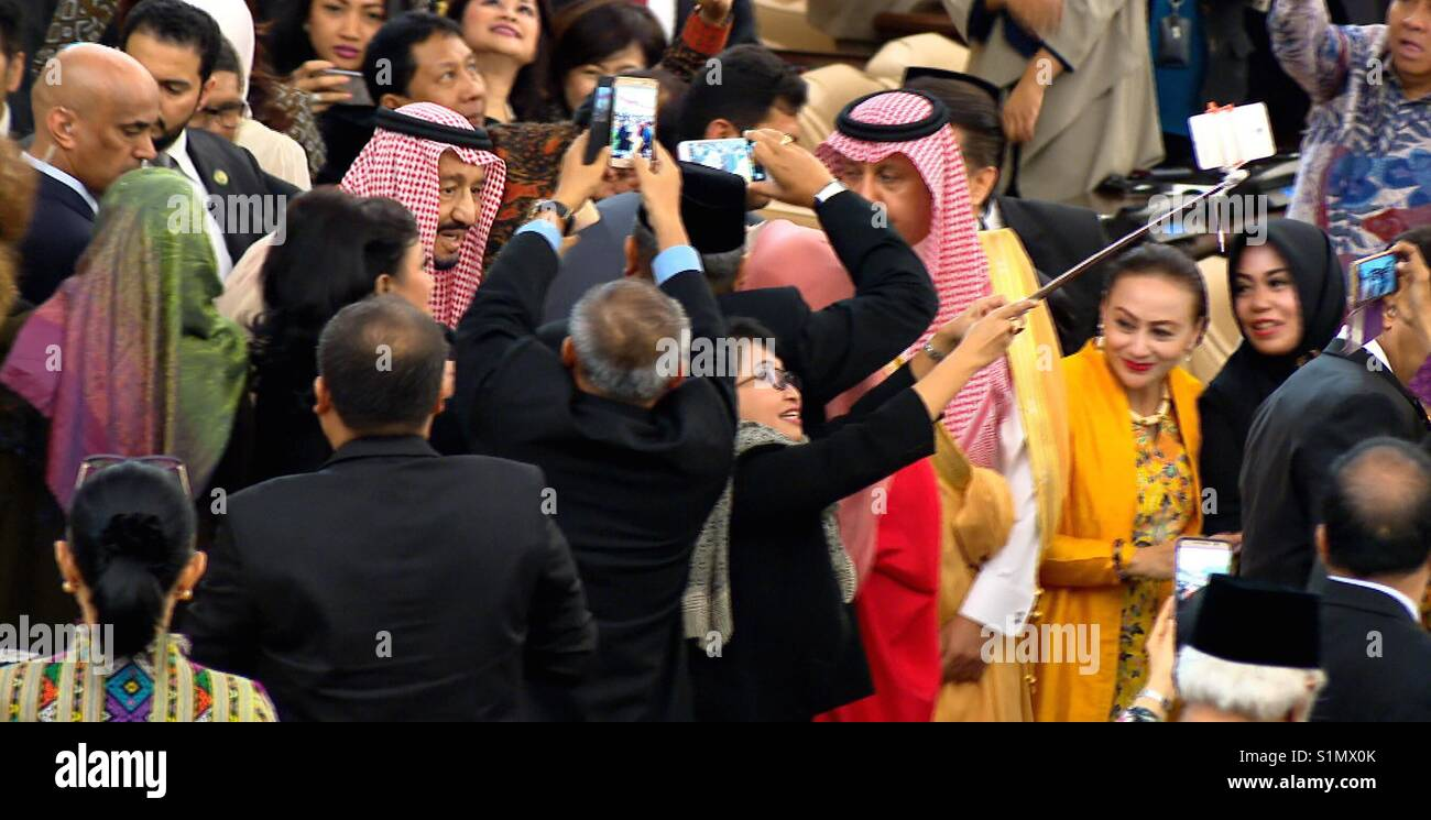 King Salman bin Abdulaziz Al Saud in indonesia - Stock Image