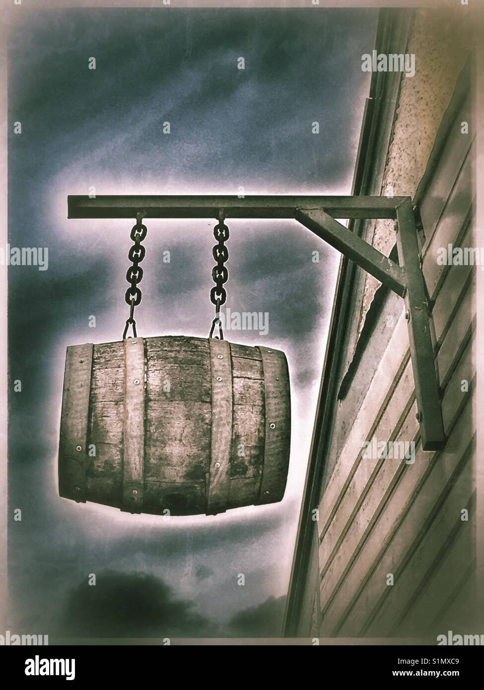 Beer Barrel sign hanging outside a microbrewery, Dove Street, Ipswich. Stock Photo