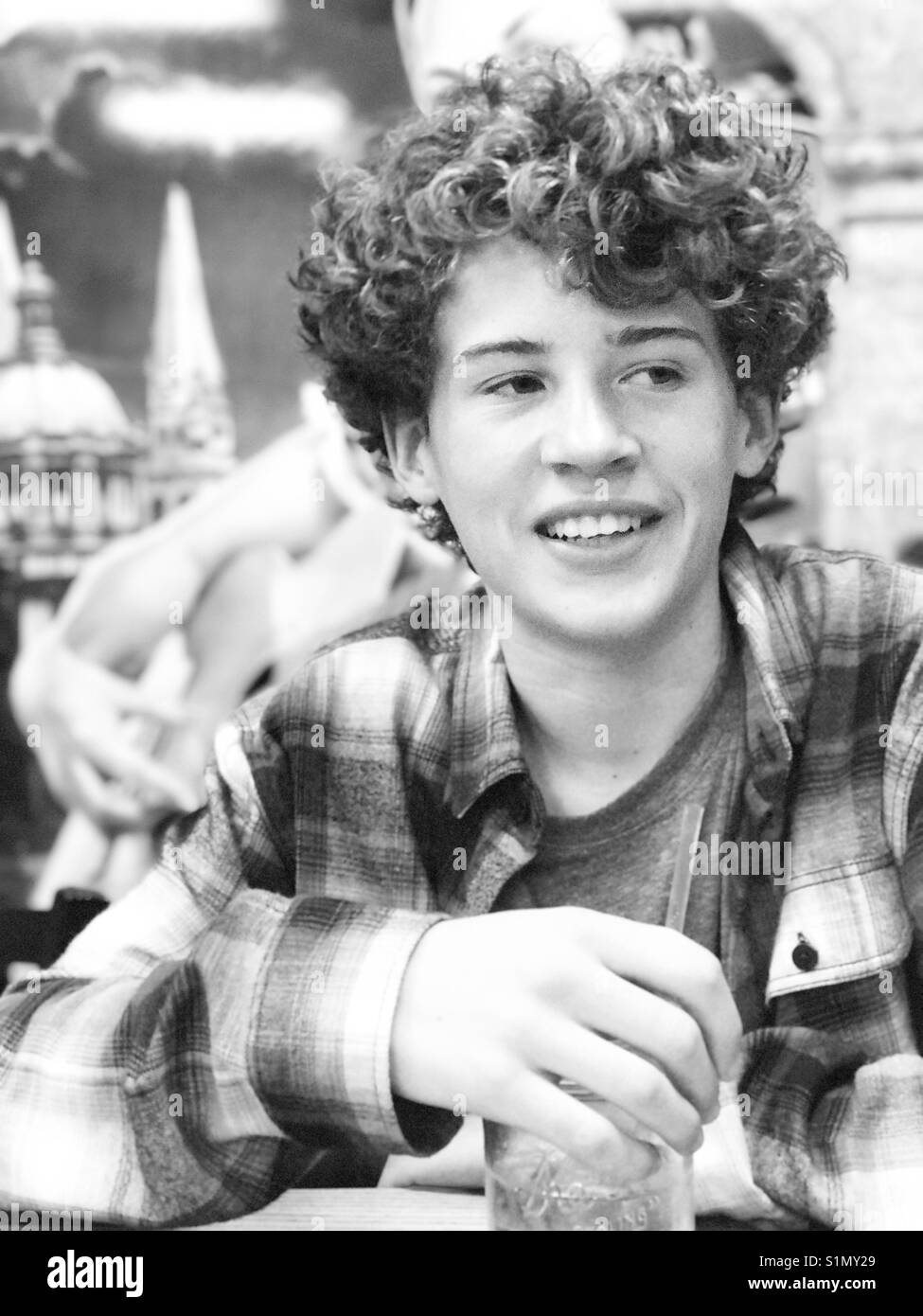 Curly Hair Boy Black And White Stock Photos Images Alamy