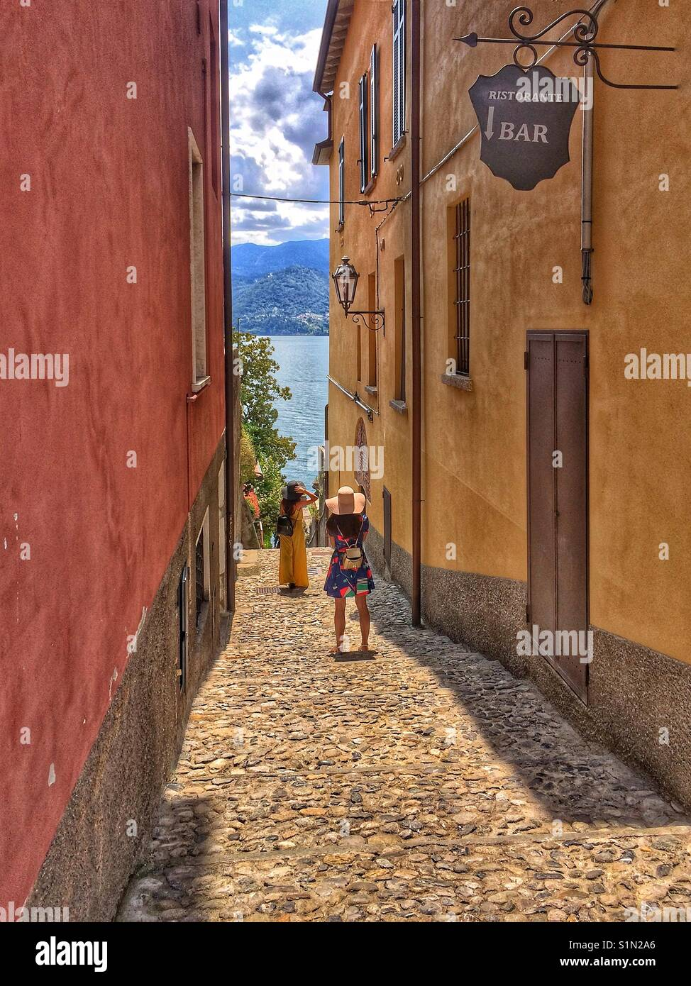 Cobbled alleyway Varenna Italy - Stock Image