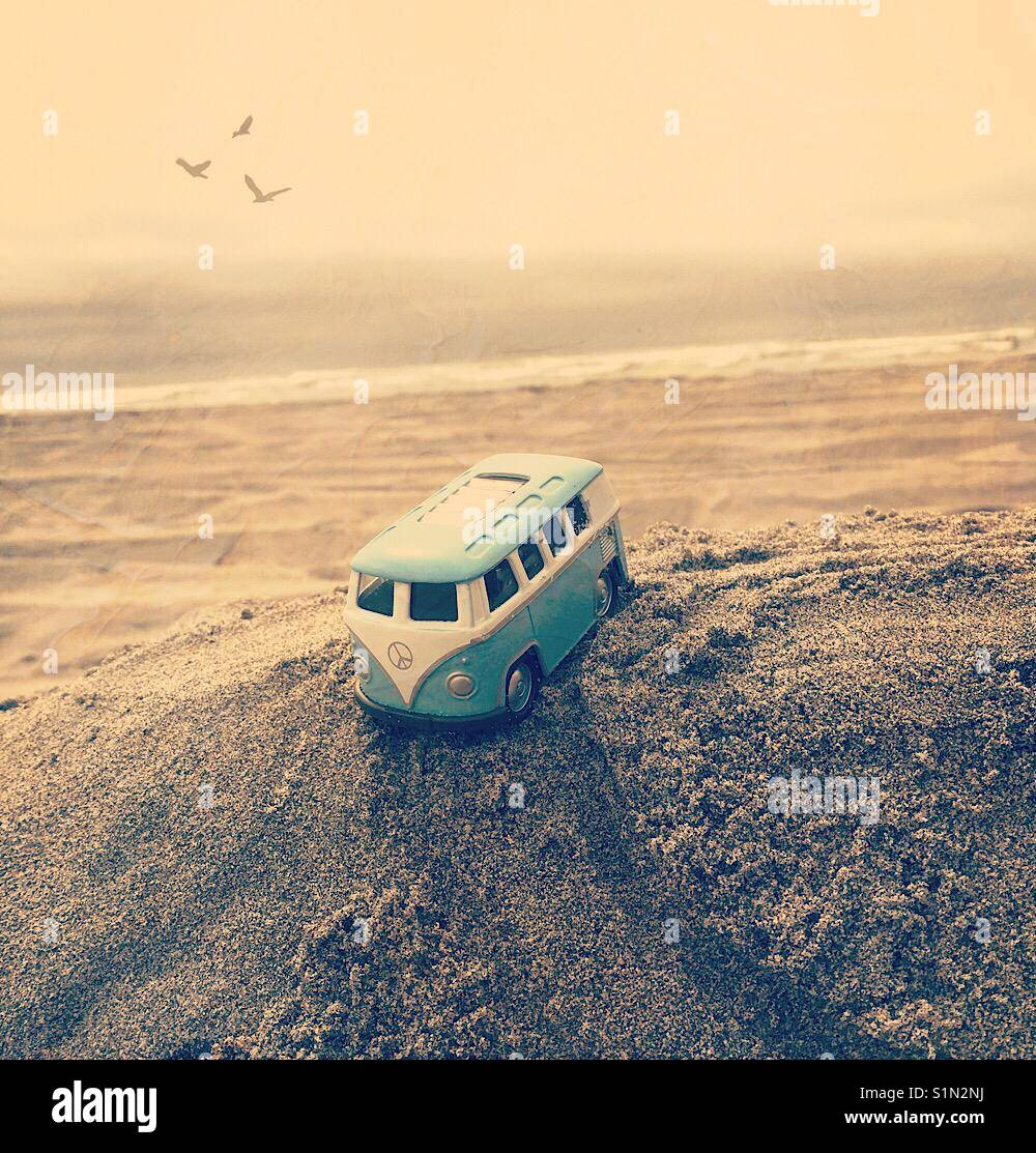 Toy van at the Beach - Stock Image