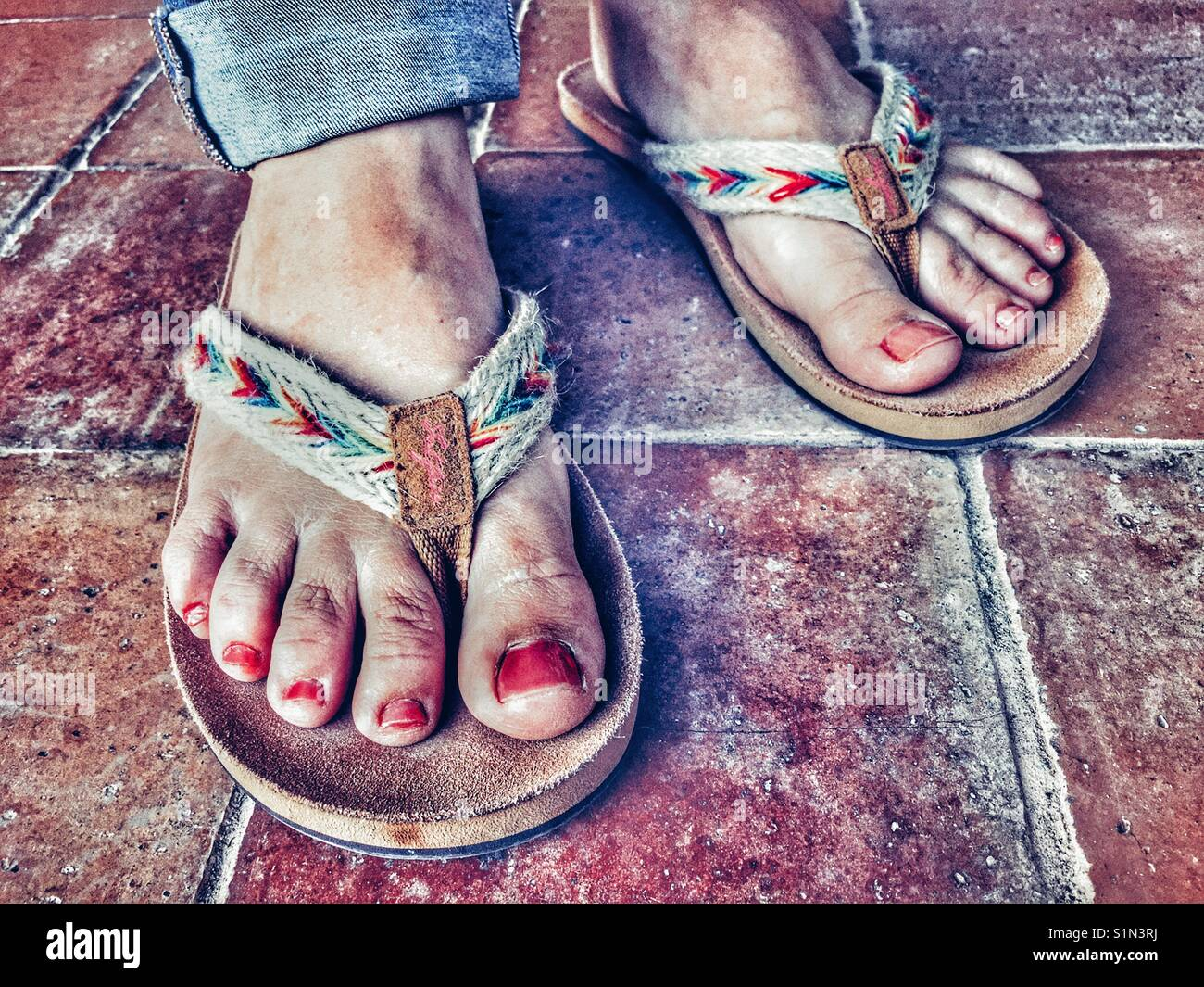 9c512bf895269 Woman Wearing Flip Flops Close Up Stock Photos   Woman Wearing Flip ...