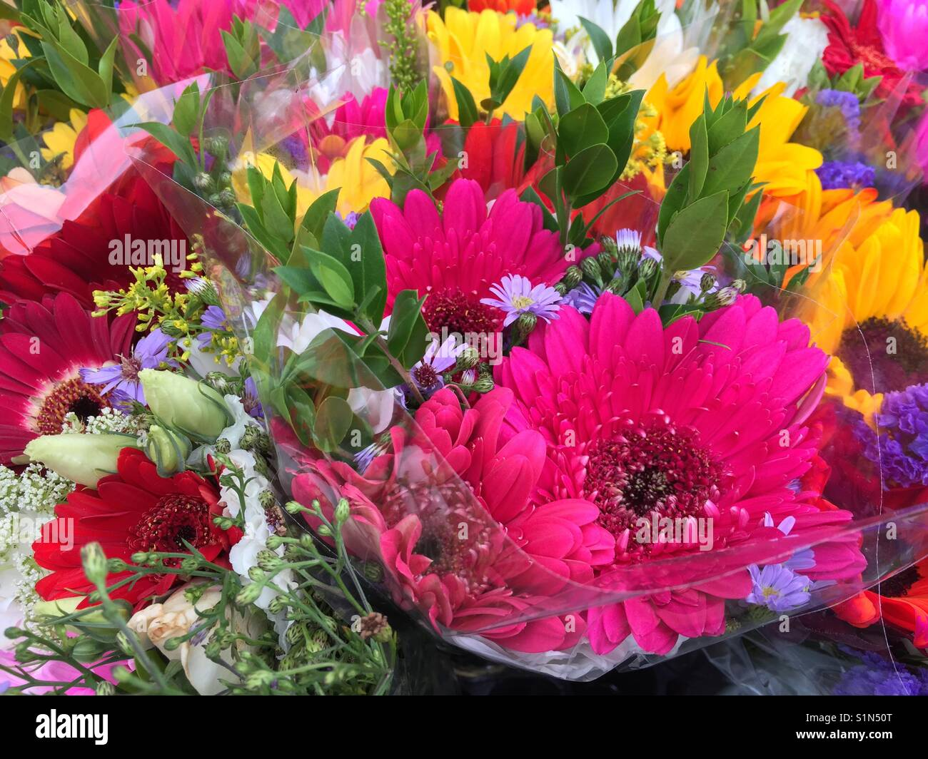 Colorful flower bouquets at local farmers market Stock Photo ...