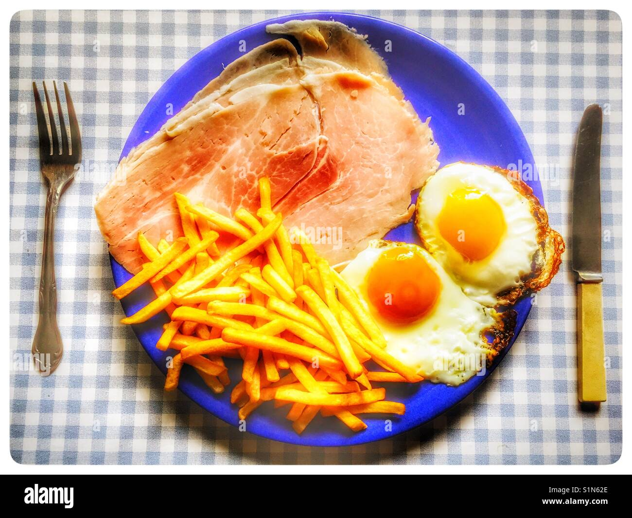 Ham eggs and chips - Stock Image