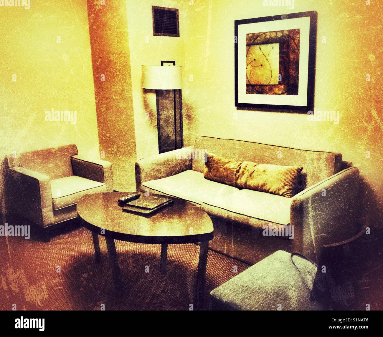 Sitting room in a hotel suite. - Stock Image