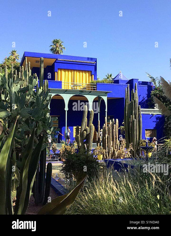 Art deco blue artists studio in jardin majorelle marrakesh stock image
