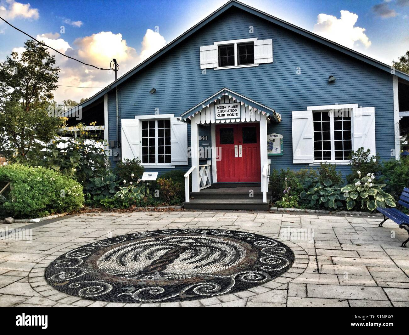 A Red House With A Blue Door Stock Photos A Red House With A Blue