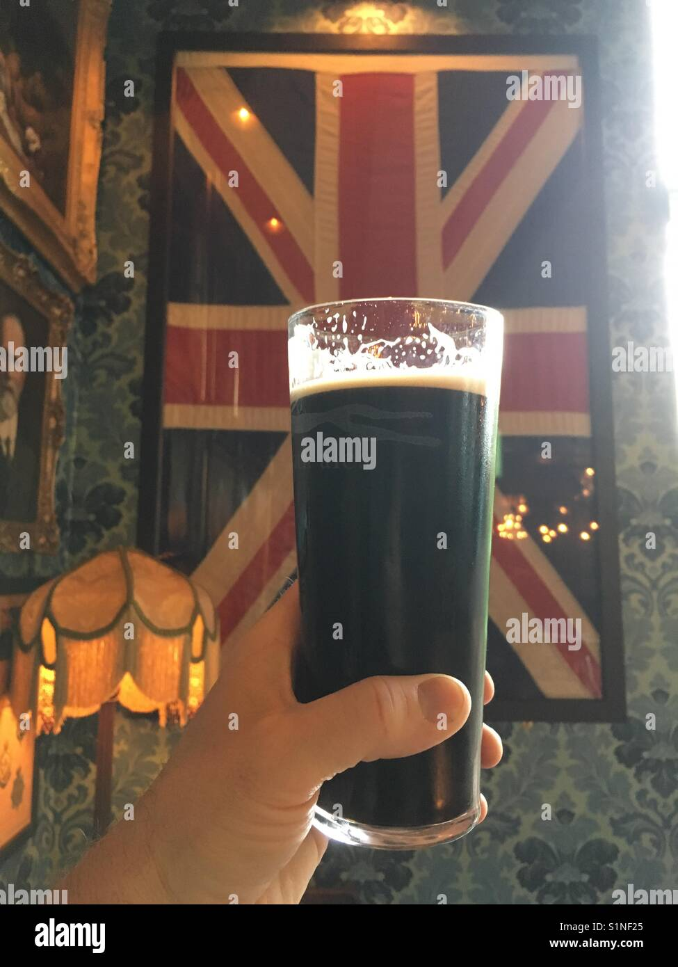 A pint of Stout. - Stock Image