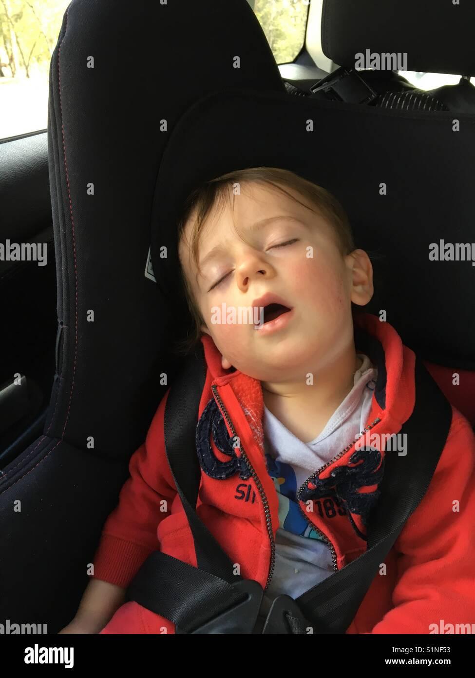 Sleeping Boy Toddler In Car Seat