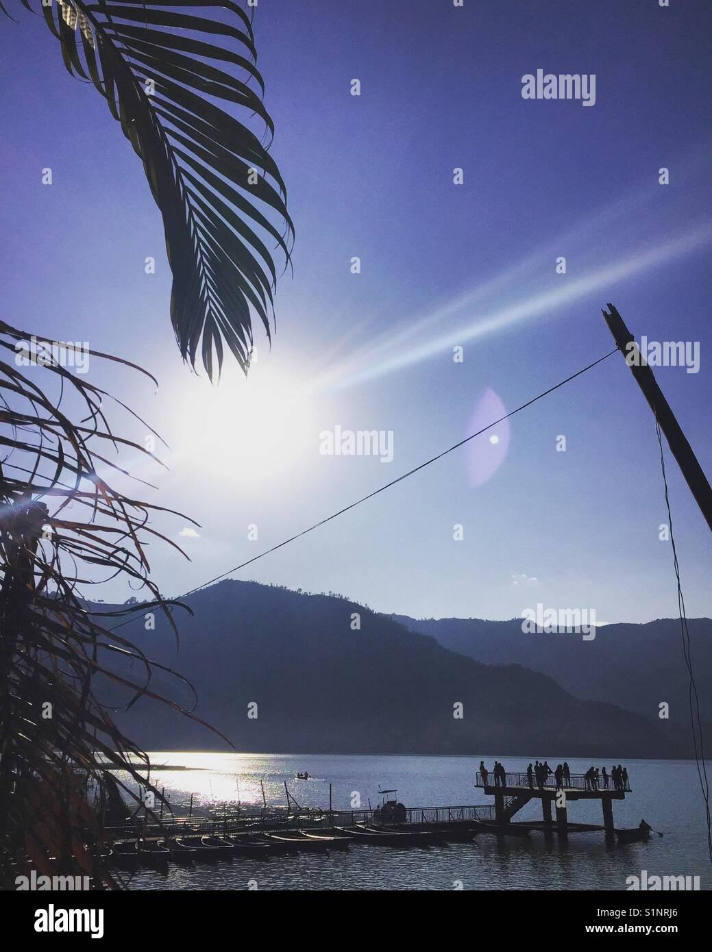 Fewa Lake, Pokhara, Nepal - Stock Image