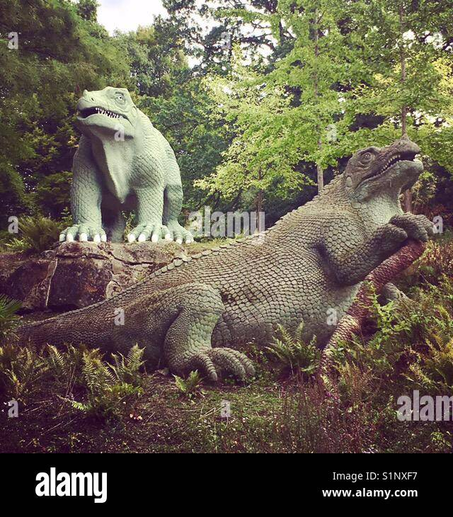 Stone dinosaurs in Crystal Palace park Stock Photo