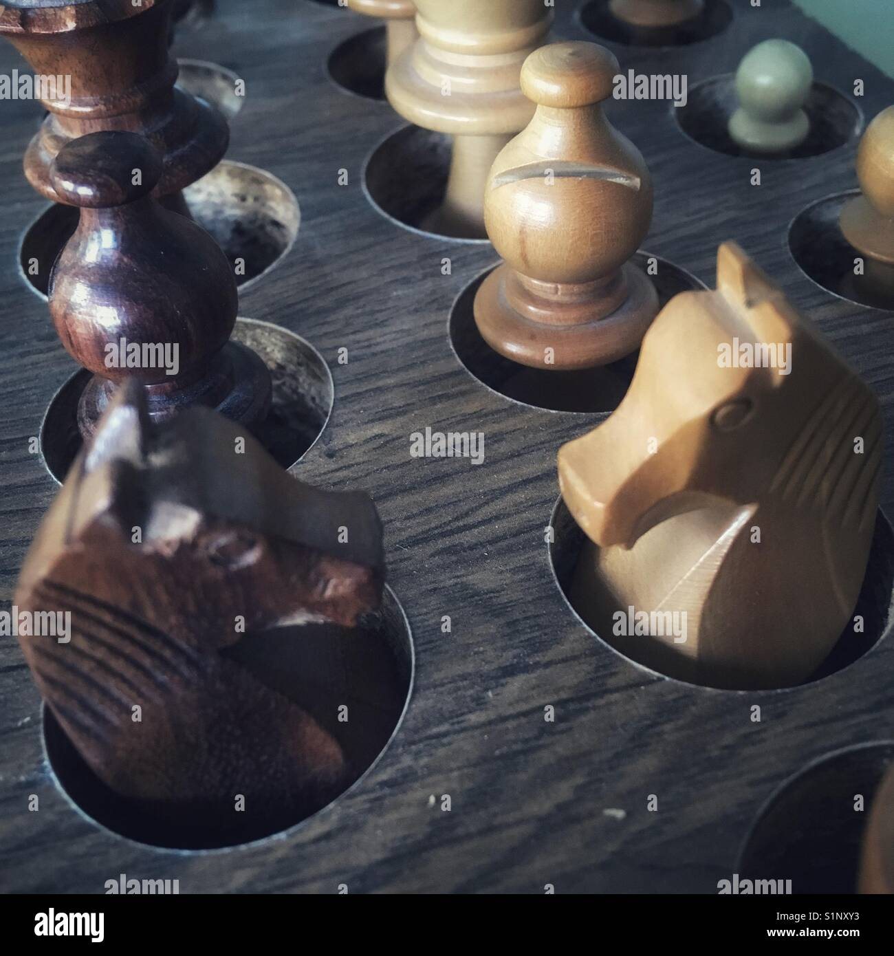 Inactive chess pieces - Stock Image