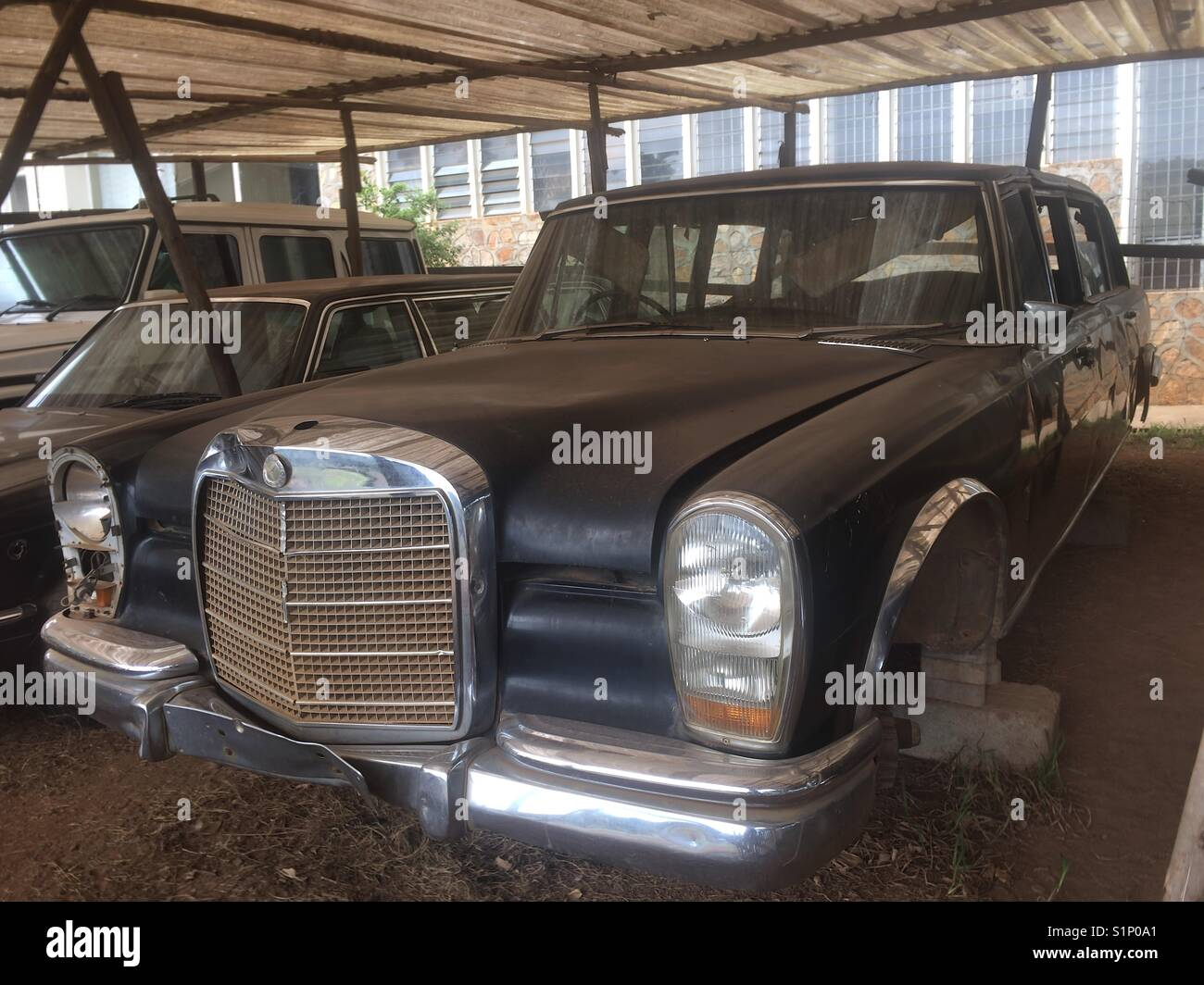 Dilapidated Mercedes 600 Grosser of the Ugandan government, formerly of Idi Amin Dada Stock Photo