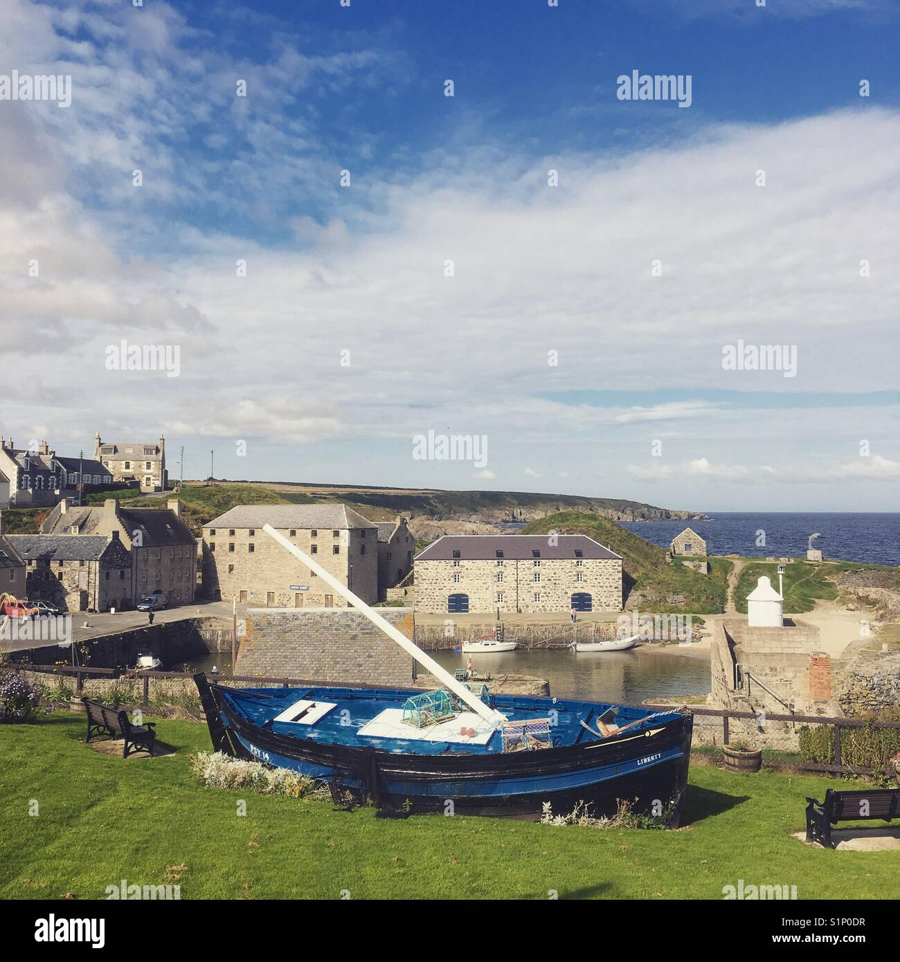 Portsoy harbour, Moray in the north east of Scotland - Stock Image