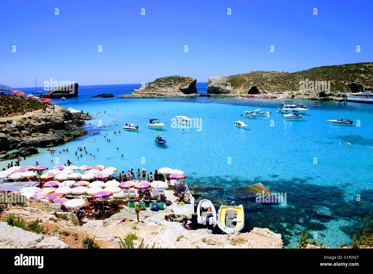 Blue lagoon on the island of Camino in Malta on a Chrystal clear day - Stock Image