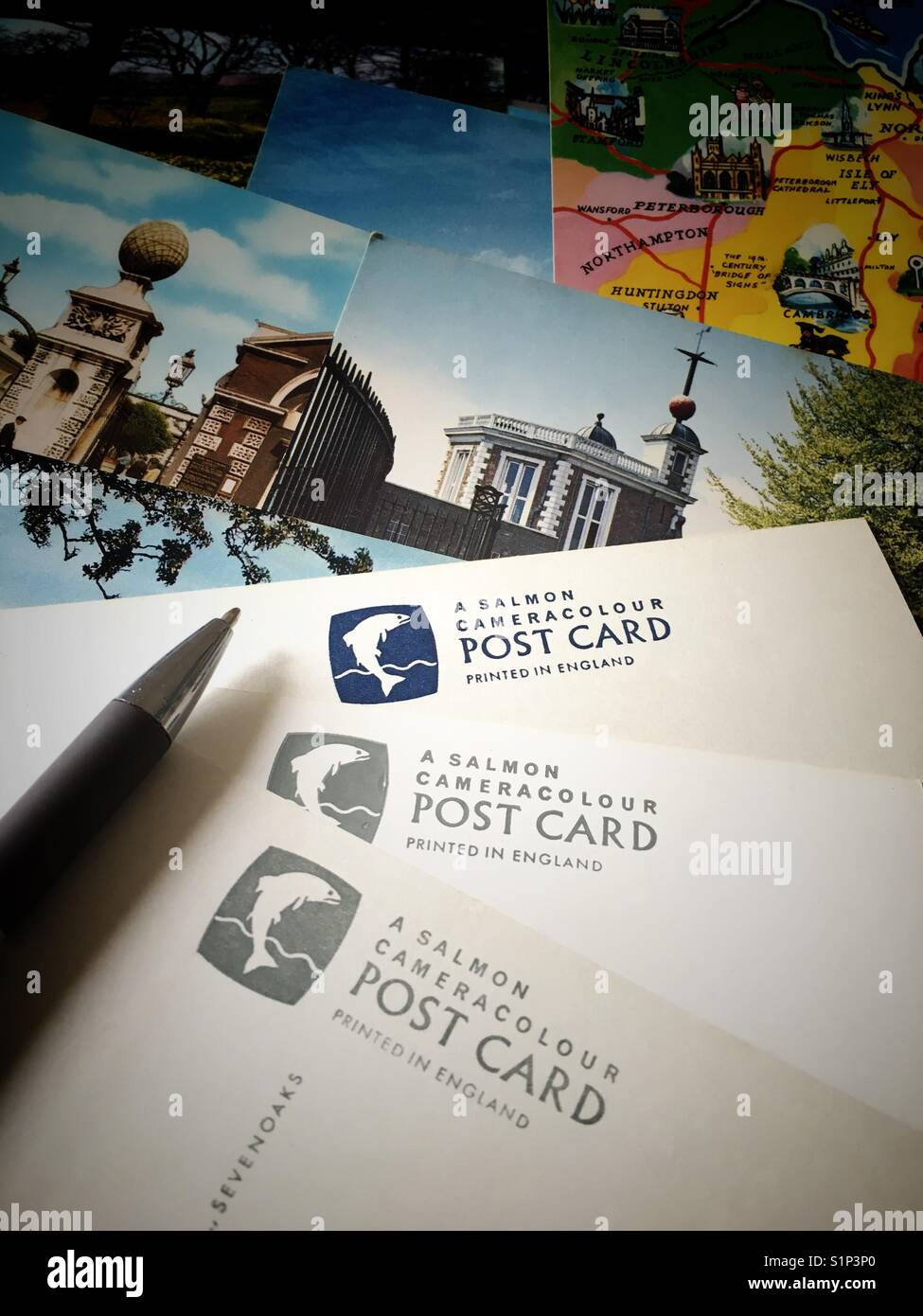 UK Postcards printed by publisher J Salmon - Stock Image
