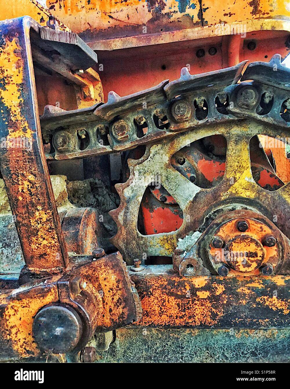 Rusty old machine detail - Stock Image