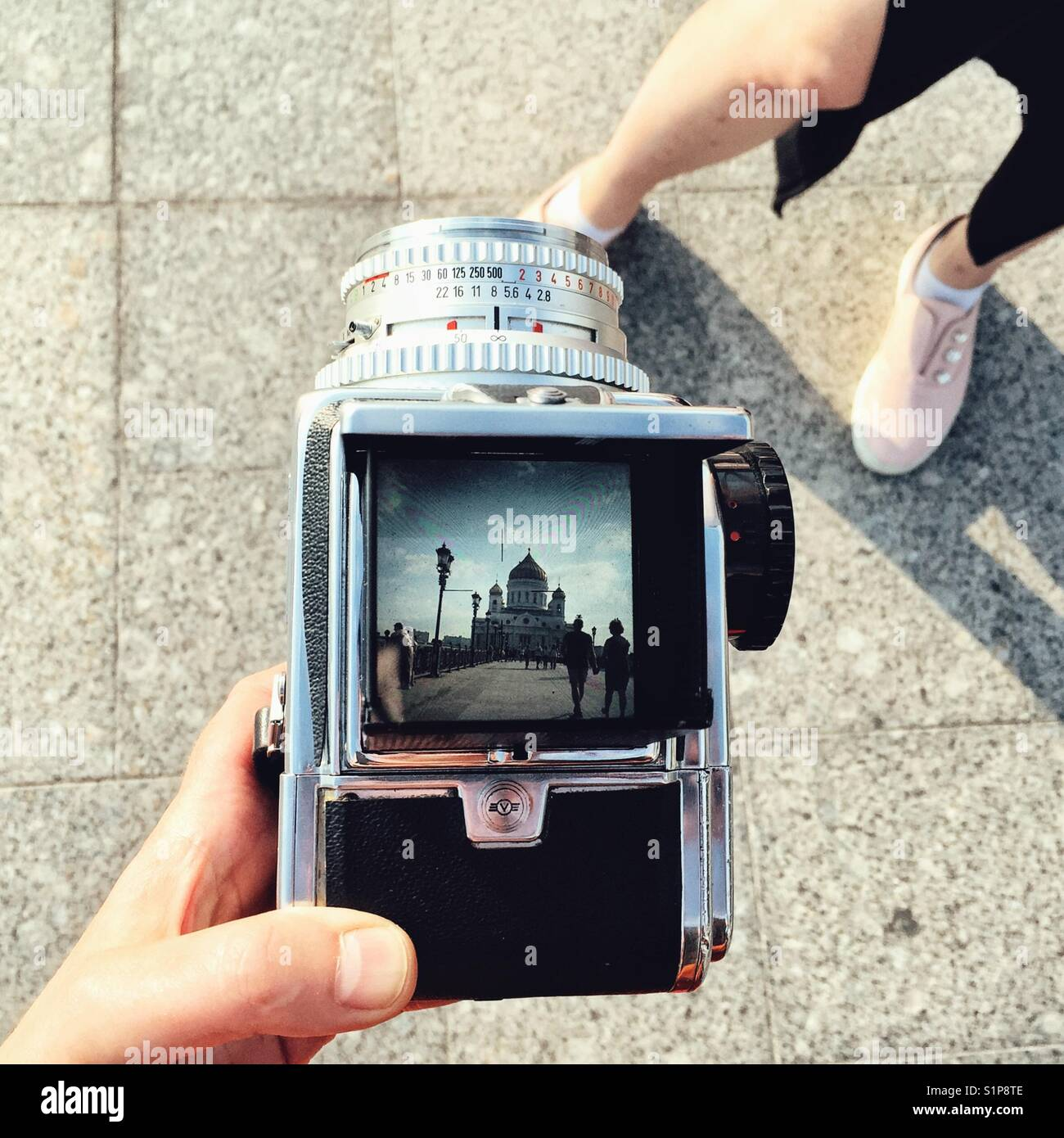 Cathedral of Christ the Savior in Moscow, Russia, photographed through vintage film medium format camera Hasselblad - Stock Image