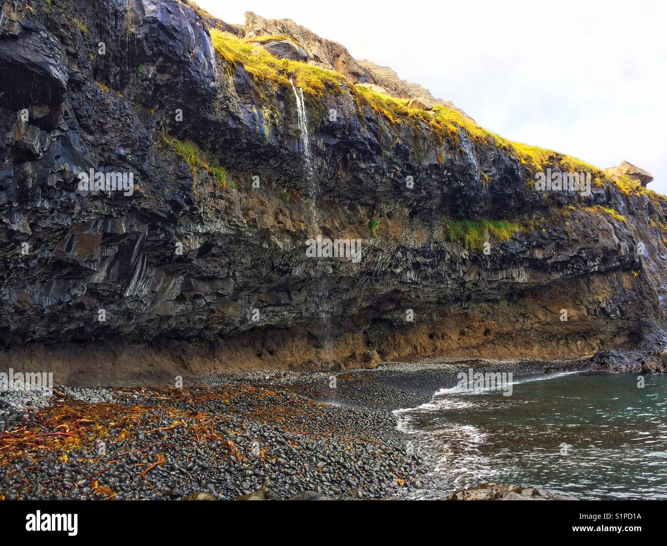 Basaltic rock lava formation. Beautiful view of a crystal cave - Stock Image