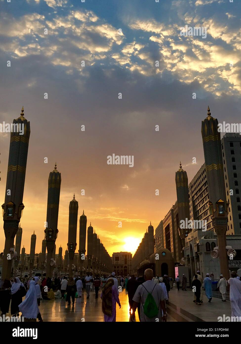 Sunset at Nabawi Mosque - Stock Image