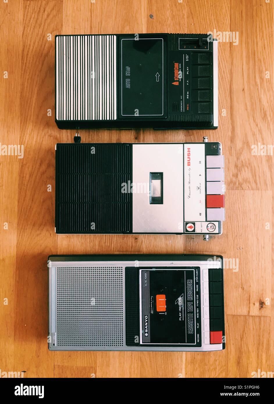 Vintage portable audio cassette players - Stock Image
